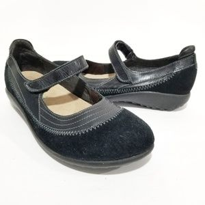 NAOT Kirei Black Madras Suede Mary Jane Shoes 38 7
